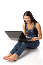 Young beautiful woman with a laptop Stock Photos