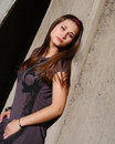 Young beautiful woman lean by Royalty Free Stock Photography