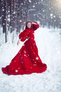 Young beautiful woman in long red dress over winter background. Royalty Free Stock Photo