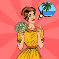 Young Beautiful Woman with Money Dreaming About how to Spend. Pop Art Royalty Free Stock Photo