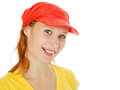 Young beautiful woman portrait with red cap Royalty Free Stock Photo