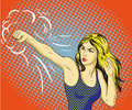 Young beautiful woman punching and boxing. Concept vector poster in retro comic pop art style. Royalty Free Stock Photo