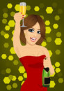 Young beautiful woman in red dress toasting with lingerie and bottle of champagne Royalty Free Stock Photo