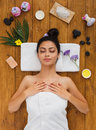 Young beautiful woman relax in aroma spa wellness center Royalty Free Stock Photo