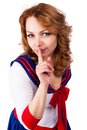 Young beautiful woman sailor costume keep silence gesture Stock Image