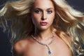 Young beautiful woman.Sexy Blond girl.jewelry Royalty Free Stock Photo