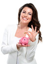 Young beautiful woman standing with piggy bank mon Royalty Free Stock Image