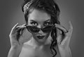 Young beautiful woman with sunglasses. Royalty Free Stock Photo