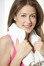 Young Beautiful Woman With Towel Around Her Neck Stock Image