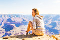 Young beautiful woman traveling, Grand Canyon, USA Royalty Free Stock Photo