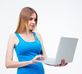 Young beautiful woman using laptop Royalty Free Stock Photo