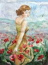 Young beautiful woman walking through a poppy field in summer Royalty Free Stock Photo