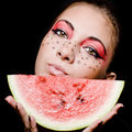 Young beautiful woman and watermelon portrait Stock Photo