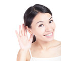 Young Beauty listen by ear Royalty Free Stock Photo
