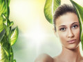 Young beauty woman creative photo of a beautiful with organic leaf close up of female with healthy fresh skin skincare concept Royalty Free Stock Photos