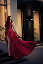 Young Beauty Woman In Red Dress Outdoor Stock Photography