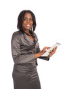 Young black businesswoman cheerful holding touch pad on isolated white background Royalty Free Stock Photography