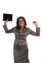 Young black businesswoman cheerful holding touch pad on isolated white background Royalty Free Stock Images