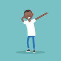 Young black character making DAB dance flat editable vector il