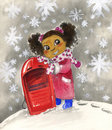 Young black girl with red sledge Stock Image
