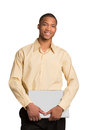Young Black Male Holding Laptop Isolated Stock Photography