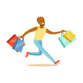 Young black man running with shopping bags colorful character vector Illustration