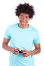 Young black teenage men playing video games african people man isolated on white background Stock Photography