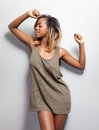 Young black woman in a tanktop Royalty Free Stock Photo