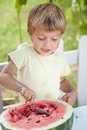 Young blond boy has healthy eating habits this image attached release Stock Photo