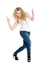 Young blond girl dancing hip hop. Stock Image