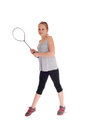 Young blond girl with her tennis racquet. Royalty Free Stock Photo