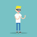 Young blond teenage boy wearing virtual reality glasses Royalty Free Stock Photo