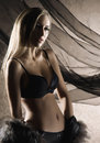 A young blond woman in black erotic lingerie Stock Image