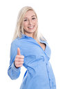 Young blond woman having fun at work with thumb up isolated on white Royalty Free Stock Photo