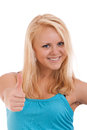 Young blond woman showing thumb up Royalty Free Stock Image