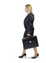Young blonde business woman on her road to success walking d text Royalty Free Stock Photos