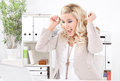 Young blonde excited woman with laptop - Success in business Royalty Free Stock Photo