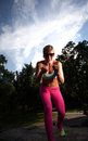 Young Blonde fit Athletic woman exercising Royalty Free Stock Photo