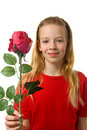 Young blonde girl with silk red rose Stock Image