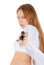 Young blonde with a gun blondie over white Royalty Free Stock Photos