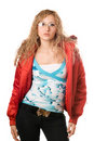 Young blonde wearing glasses in red jacket Stock Images