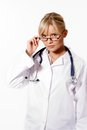 Young blonde woman doctor on white background Stock Image