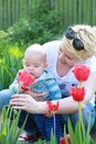 Young blonde woman holding tulip people family motherhood and children concept happy mother hugging adorable baby over tulips Royalty Free Stock Images