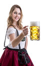 Young blonde woman in traditional bavarian costume on white background Royalty Free Stock Photo