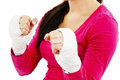 Young boxer woman white boxing bandage hands over white background Stock Images