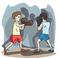 Young boxers at match colorful illustration of two boys fighting boxing Stock Photos