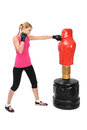 Young Boxing Lady with Body Opponent Bag Mannequin Royalty Free Stock Photography