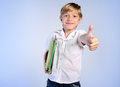 Young boy agree on blue background Royalty Free Stock Photos