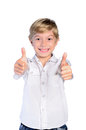 Young boy agree on white background Stock Photography