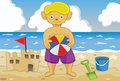 Young boy in a beach illustration of holding ball and playing on Stock Photo